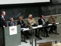 Seated: Renato Camurri, Francesco Giavazzi and Nobel Prize Winners Robert Merton and Robert Solow ( Photo: Francesco Castellano