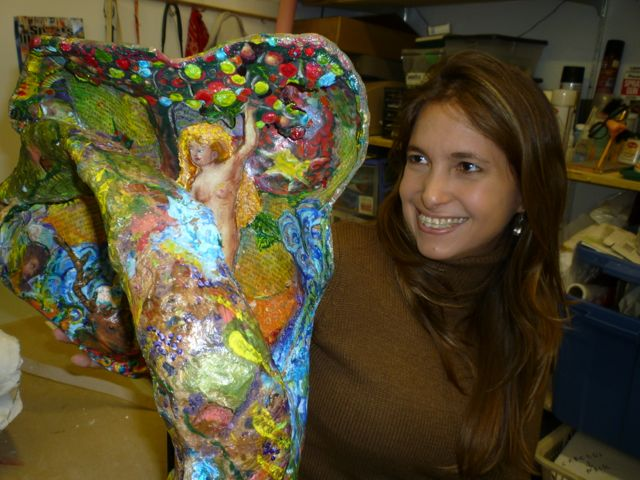 "Christine Palamidessi's Brazilian muse: Fernanda with sculpture ""Aphrodite."""