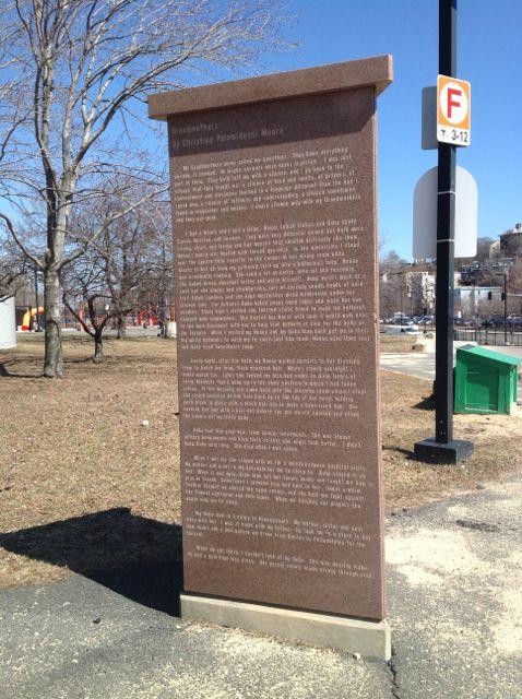 "Christine Palamidessi. Granite monolith. ""Grandmothers"". At MBTA Boston, Jackson Square."
