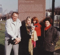 With my Father ( ALDO) , mother (RUTH), and daughter (RUBY) in front of my Public Art in Boston.