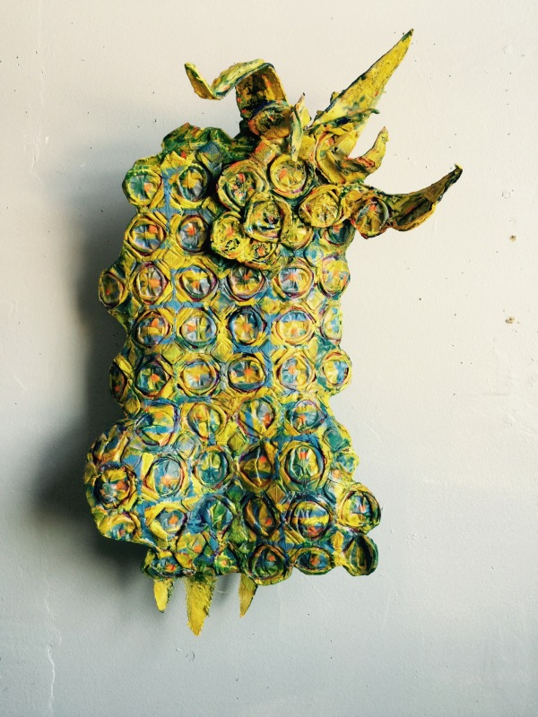 Pernambuco Pineapple (2016)  Mixed Media- paper, paint, wax, wire. 16 x 12 x 5inches