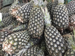 Pernambucoseen in Ssao Paolo market. The variety  is cone shaped and thinner than the pineapples we eat in the States.  The flesh is white.